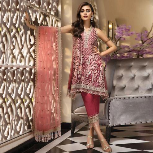 Flamboyant Red Colored Partywear Embroidered Net Pant Style Kashmiri Suit
