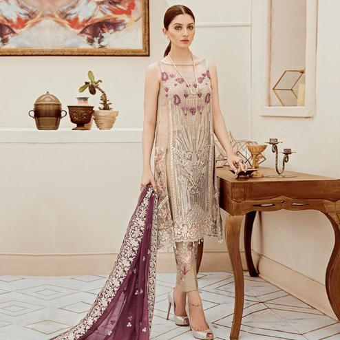 Arresting Off White Colored Partywear Embroidered Georgette Pant Style Kashmiri Suit