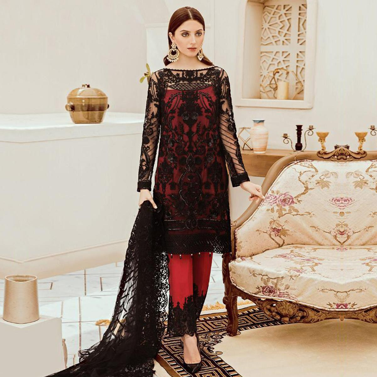 Desirable Black Colored Partywear Embroidered Net Pant Style Kashmiri Suit