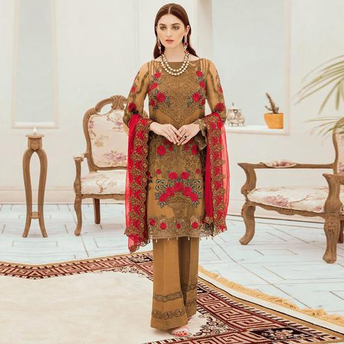 Exotic Brown Colored Partywear Embroidered Net Pant Style Kashmiri Suit