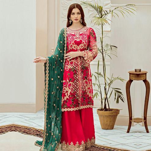 Sophisticated Red Colored Partywear Embroidered Net Palazzo Suit