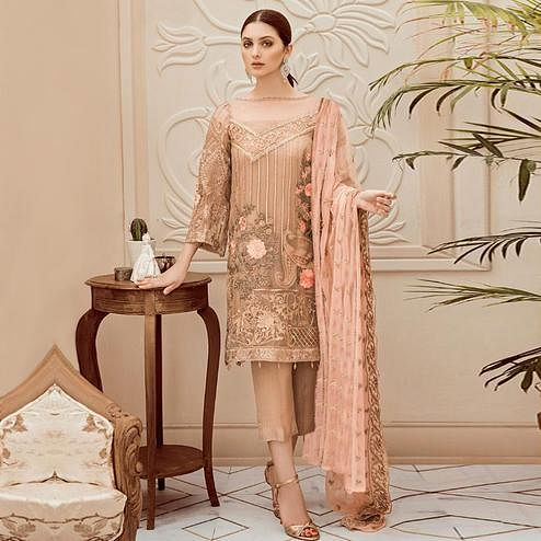 Pleasant Beige Colored Partywear Embroidered Georgette Pant Style Kashmiri Suit