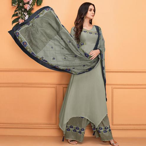 Eye-catching Grey Colored Partywear Embroidered Muslin Palazzo Suit