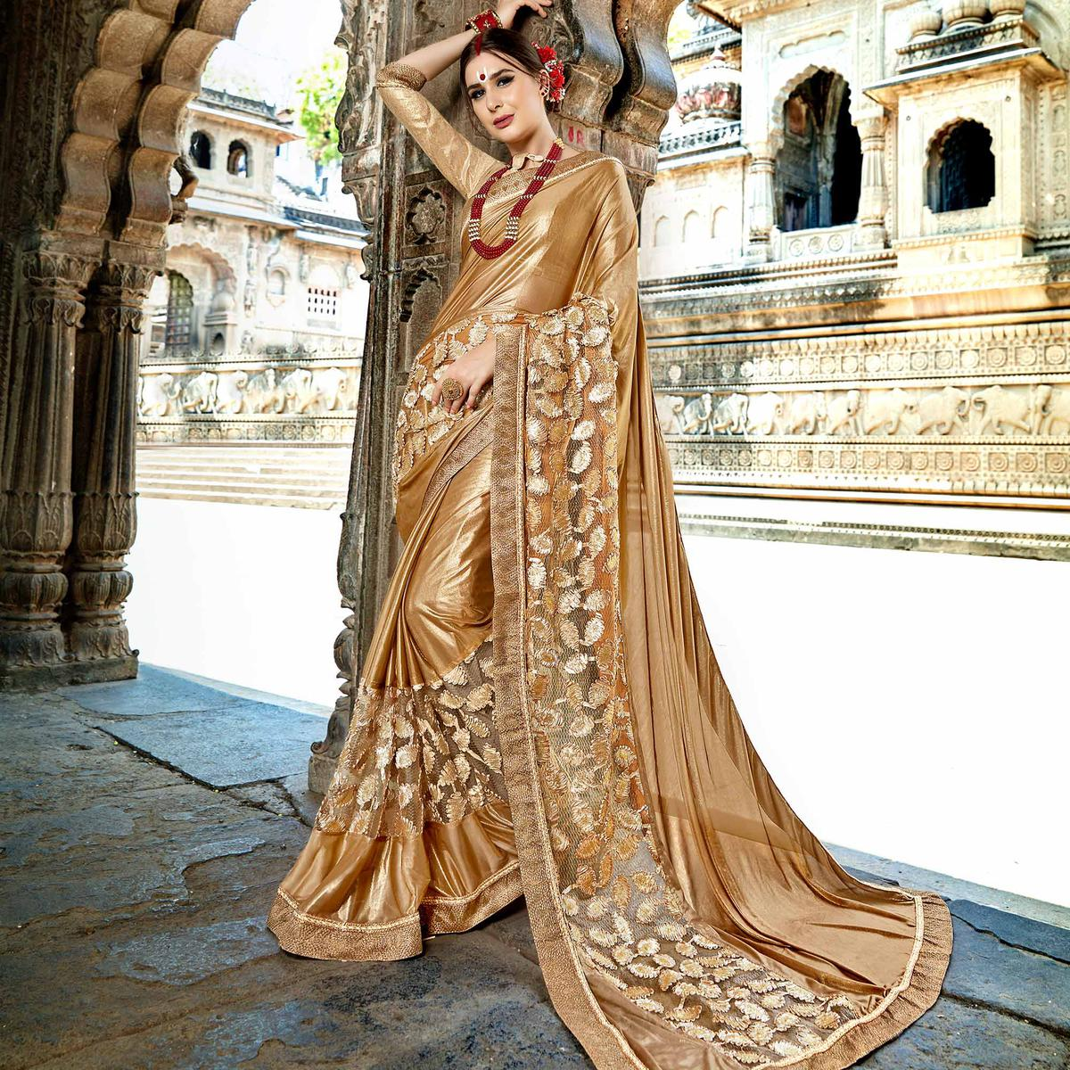 Blissful Golden Colored Partywear Embroidered Fancy Art Silk Saree