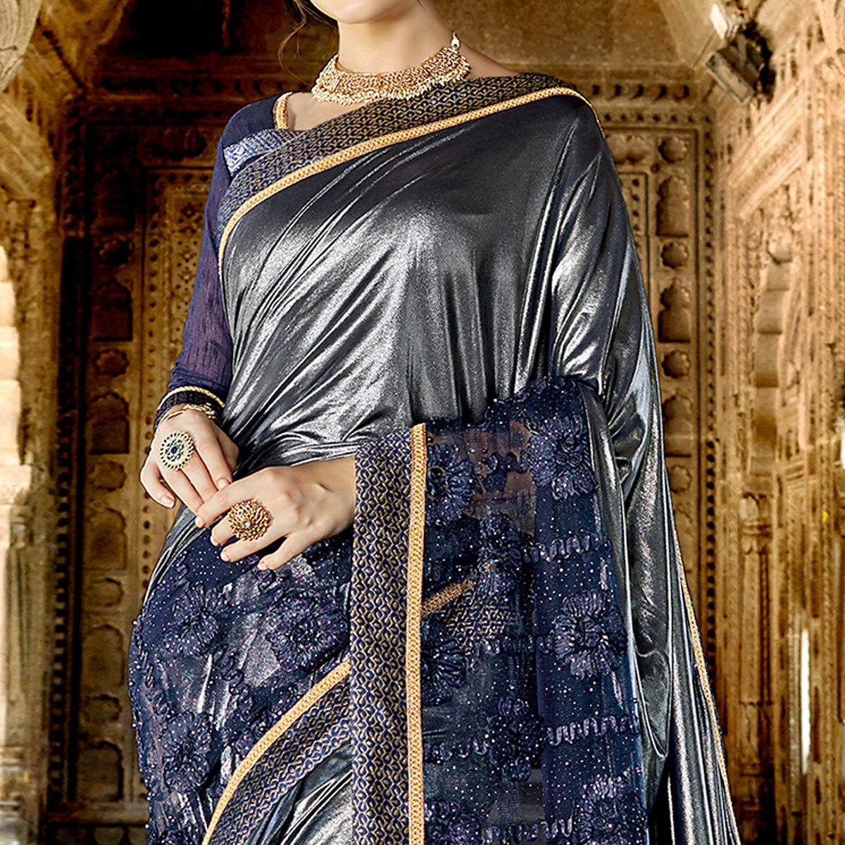 Ideal Bluish Grey Colored Partywear Embroidered Fancy Art Silk Saree