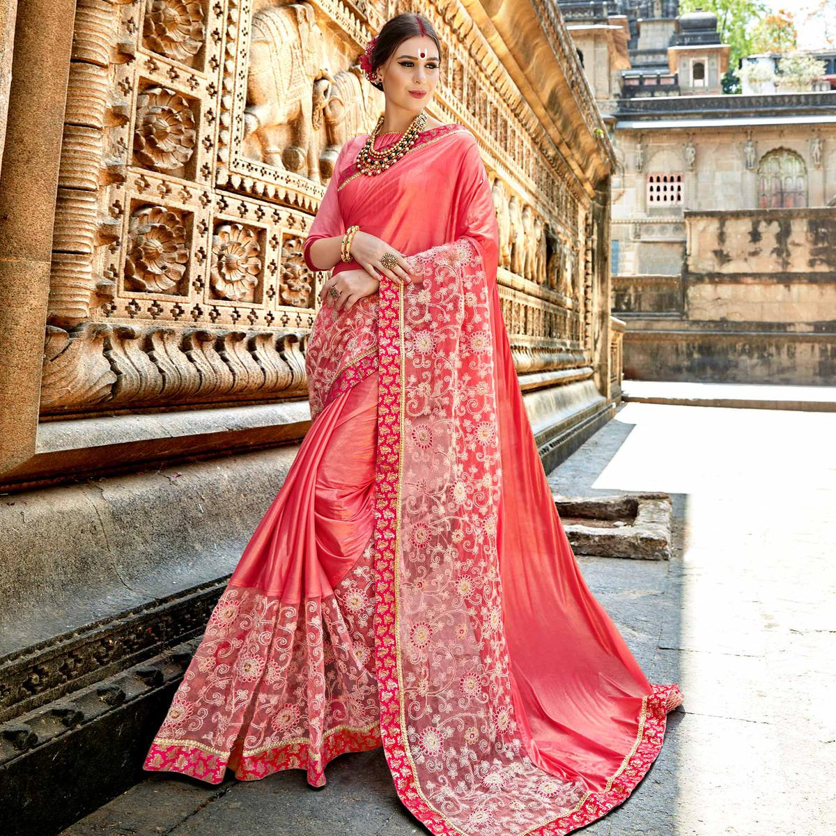 Imposing Pink Colored Partywear Embroidered Fancy Art Silk Saree