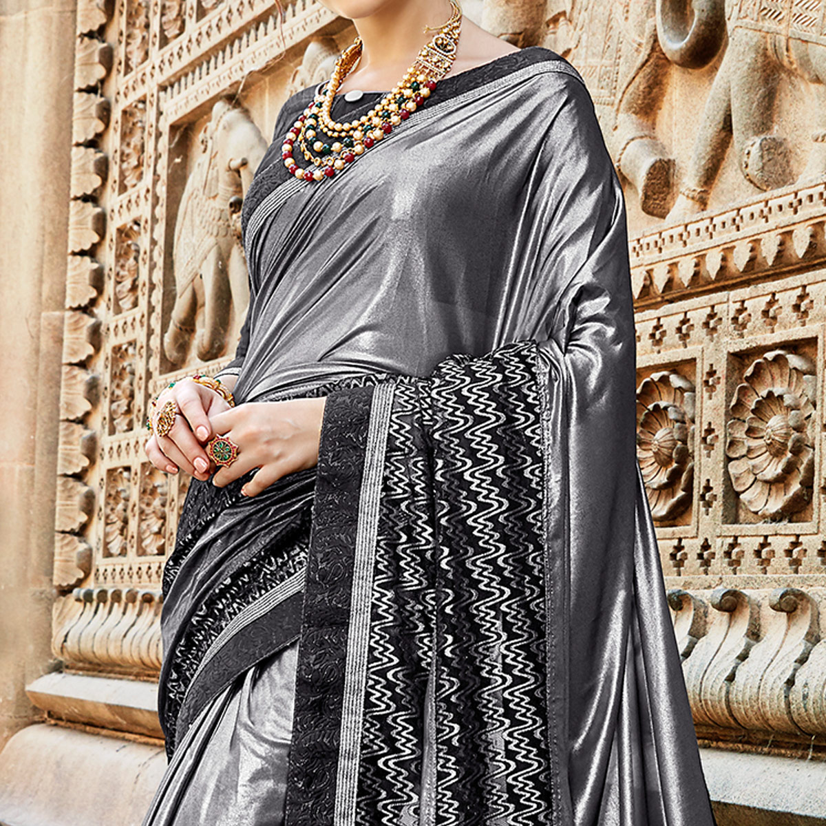 Lovely Grey Colored Partywear Embroidered Fancy Art Silk Saree