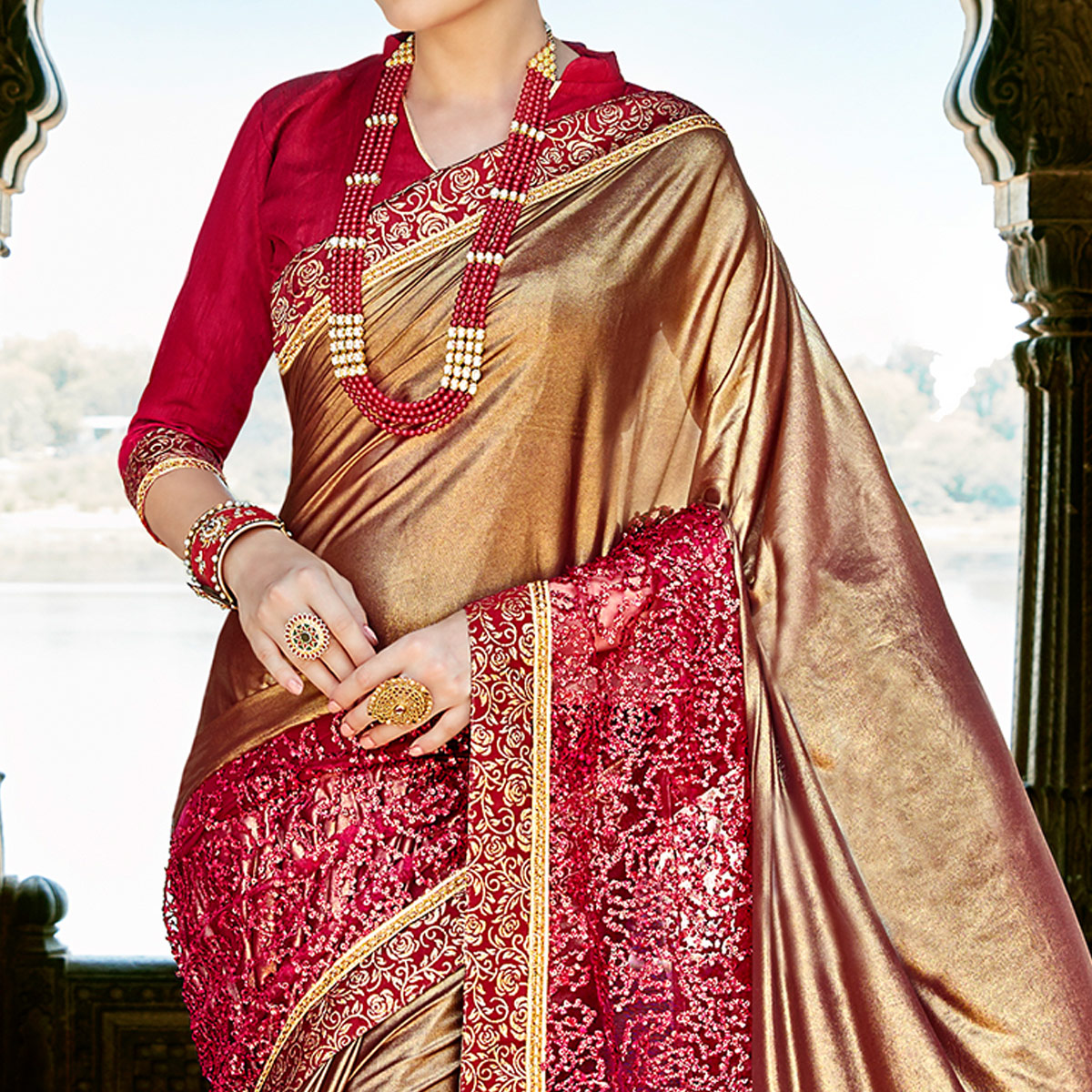 Majesty Golden-Red Colored Partywear Embroidered Fancy Art Silk Saree
