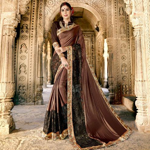 Impressive Brown Colored Partywear Embroidered Fancy Art Silk Saree