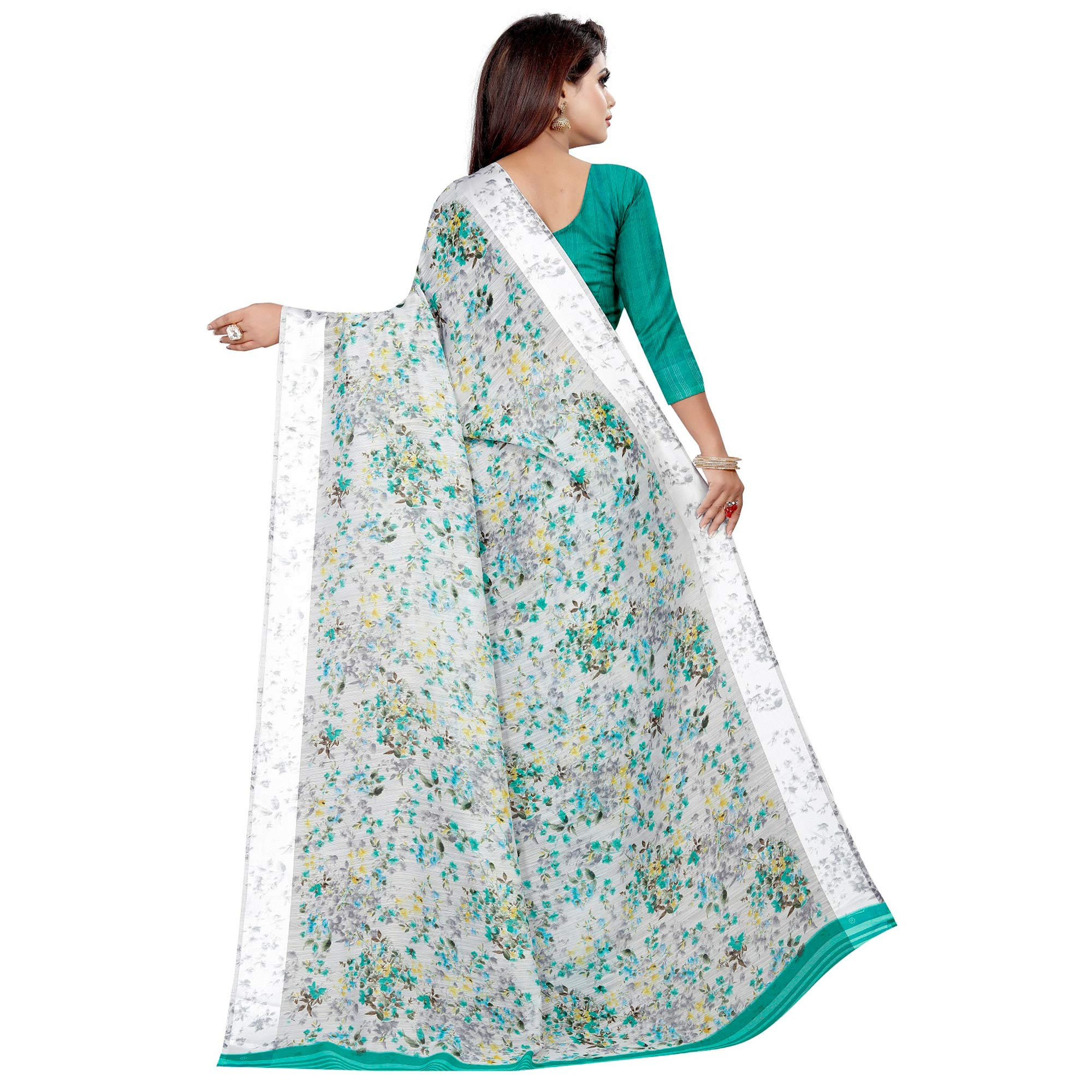 Majesty Grey Colored Casual Printed Linen Silk Saree