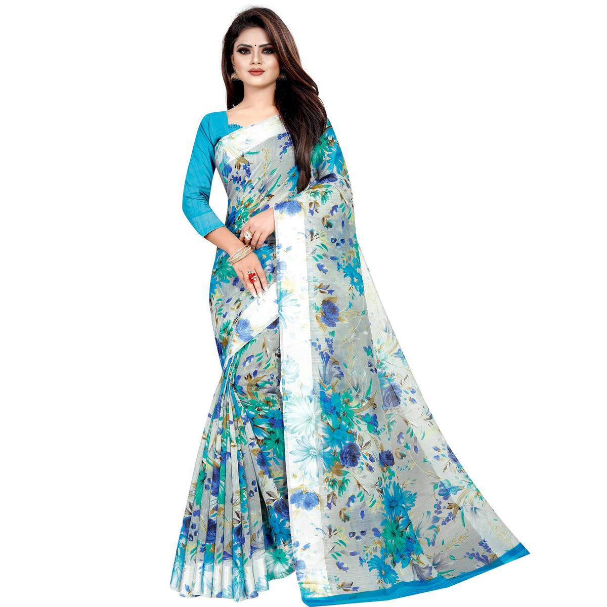 Impressive Sky Blue Colored Casual Printed Linen Silk Saree