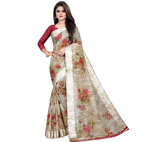Mesmerising Grey Colored Casual Printed Linen Silk Saree