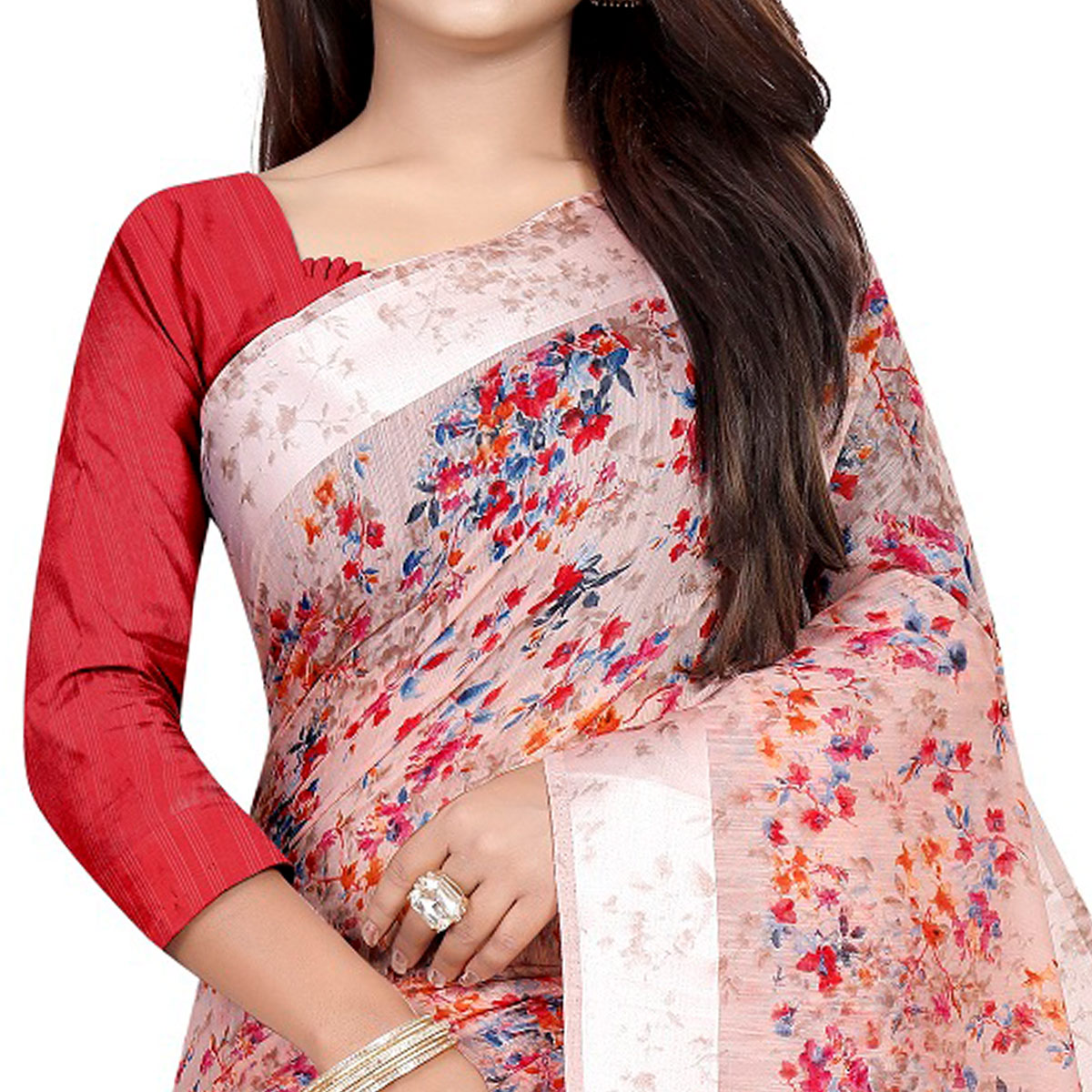 Pleasance Red Colored Casual Printed Linen Silk Saree