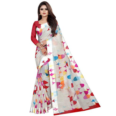 Breathtaking Off White Colored Casual Printed Linen Silk Saree