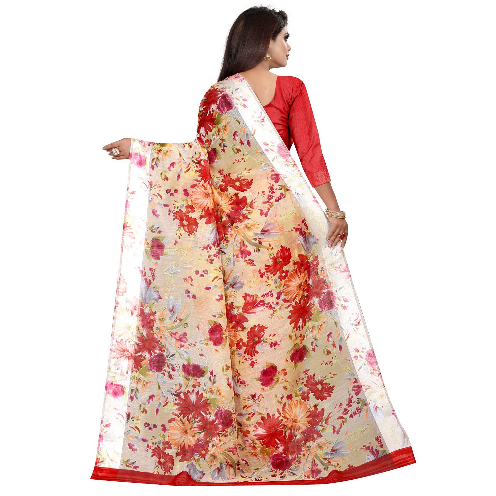 Ethnic Yellow-Red Colored Casual Printed Linen Silk Saree