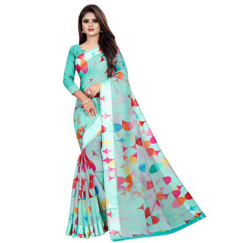 Ravishing Aqua Blue Colored Casual Printed Linen Silk Saree