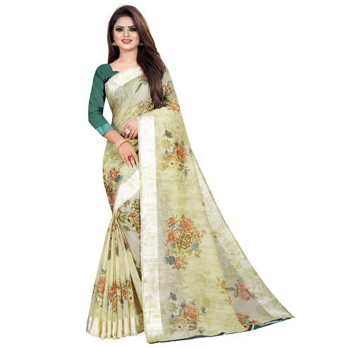 Staring Light Green Colored Casual Printed Linen Silk Saree