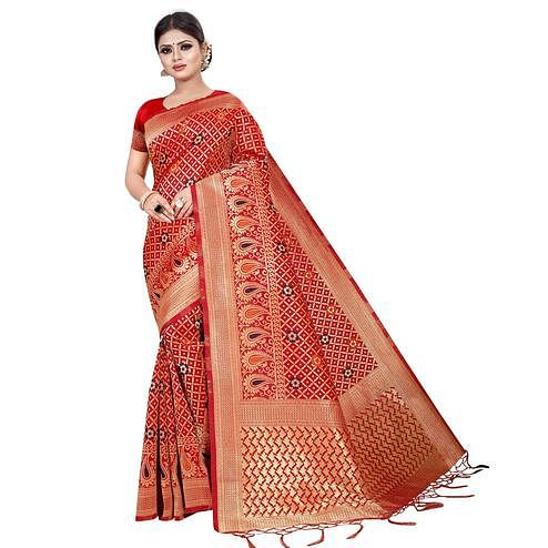 Pretty Red Colored Festive Wear Woven Kota Silk Saree