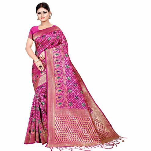 Alluring Rani Pink Colored Festive Wear Woven Kota Silk Saree