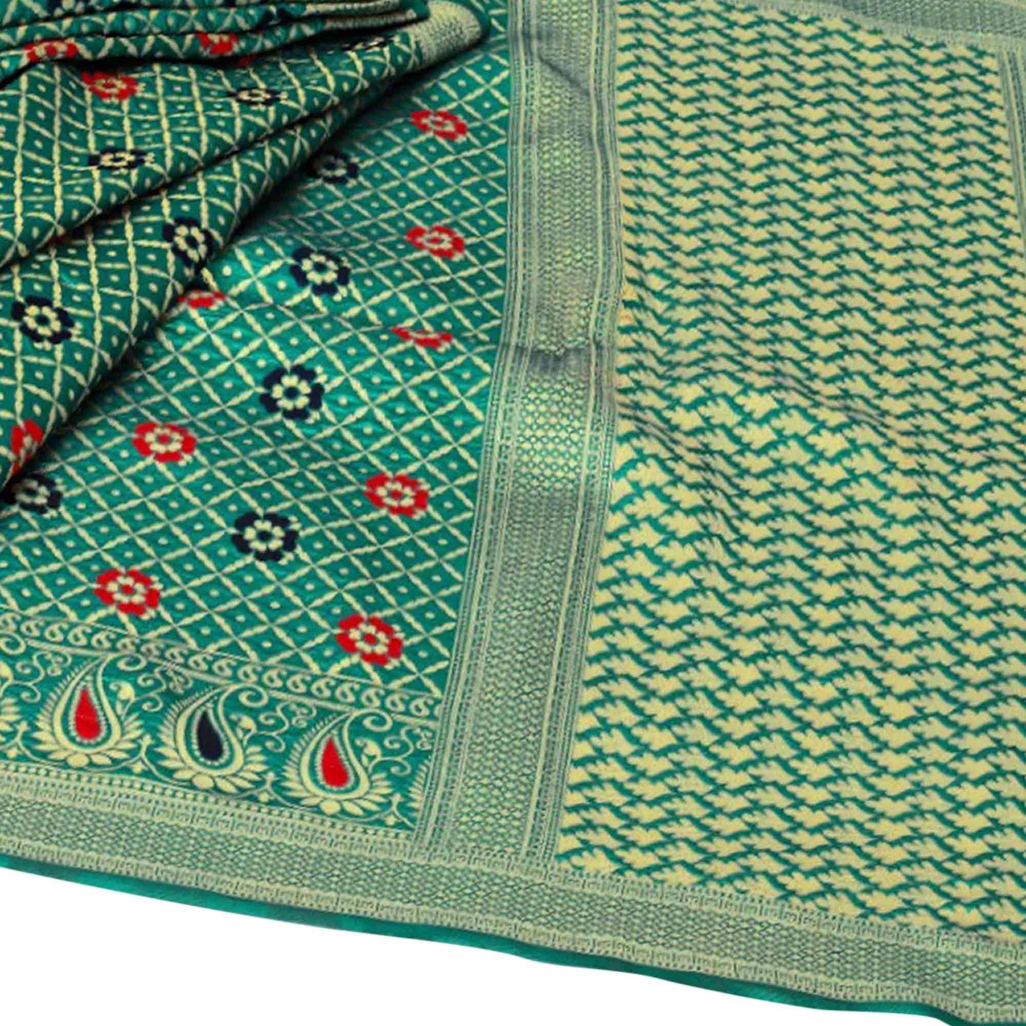 Sensational Rama Green Colored Festive Wear Woven Kota Silk Saree