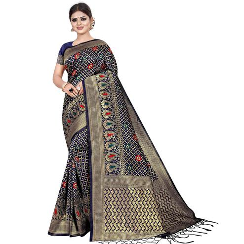Stunning Navy Blue Colored Festive Wear Woven Kota Silk Saree