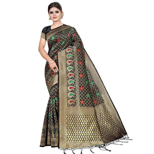 Flirty Black Colored Festive Wear Woven Kota Silk Saree