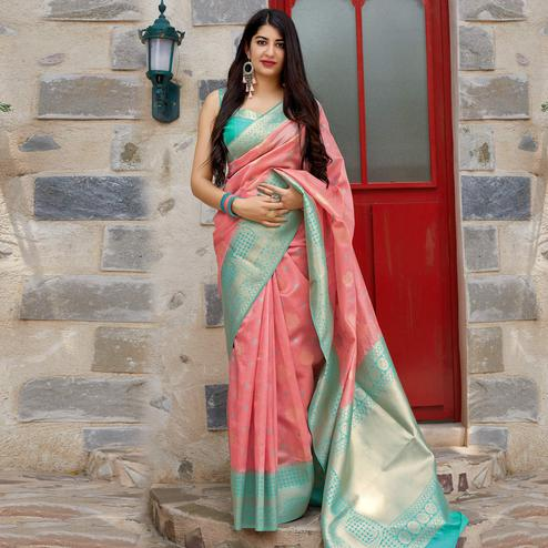 Adorable Light Pink Colored Festive Wear Woven Banarasi Silk Saree