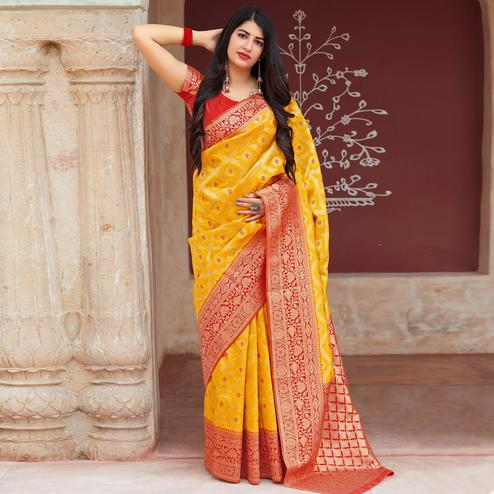 Glorious Yellow Colored Festive Wear Woven Banarasi Silk Saree