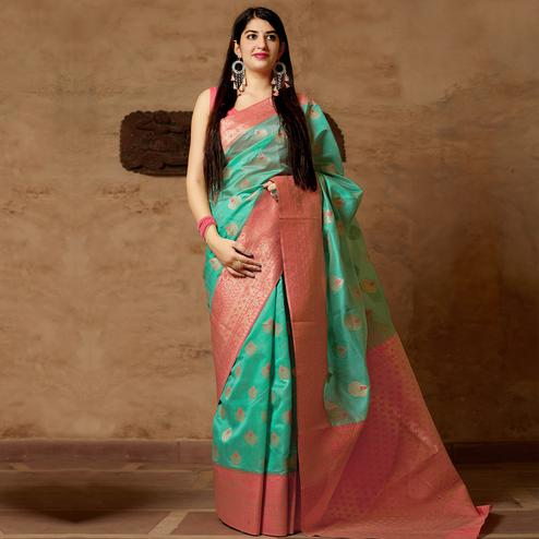 Beautiful Turquoise Green Colored Festive Wear Woven Banarasi Silk Saree