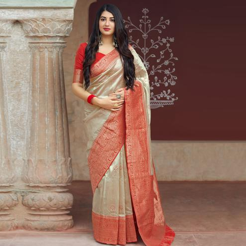 Graceful Cream Colored Festive Wear Woven Banarasi Silk Saree