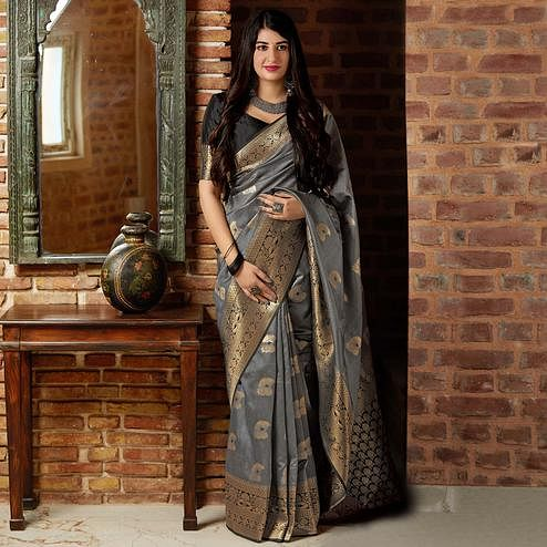 Blooming Grey Colored Festive Wear Woven Banarasi Silk Saree