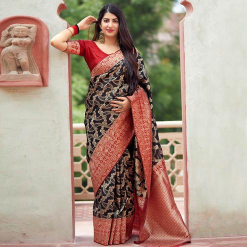 Charming Black Colored Festive Wear Woven Banarasi Silk Saree