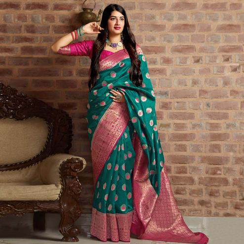 Delightful Teal Green Colored Festive Wear Woven Banarasi Silk Saree