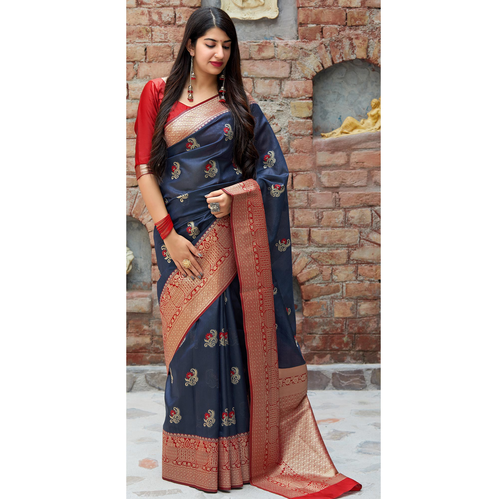 Innovative Blue Colored Festive Wear Woven Banarasi Silk Saree