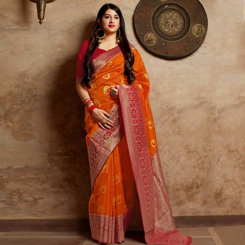 Eye-catching Orange Colored Festive Wear Woven Banarasi Silk Saree