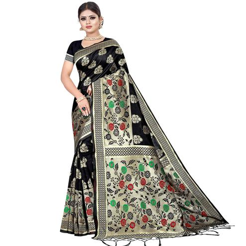 Classy Black Colored Festive Wear Kota Silk Saree