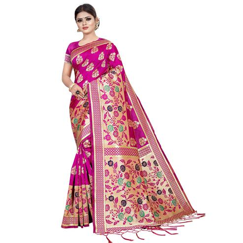 Appealing Rani Pink Colored Festive Wear Kota Silk Saree