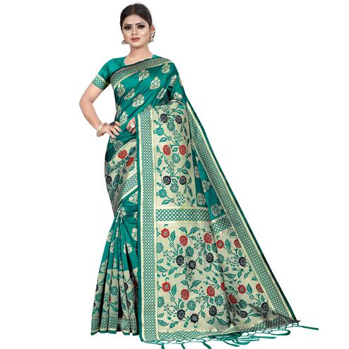 Capricious Rama Green Colored Festive Wear Kota Silk Saree