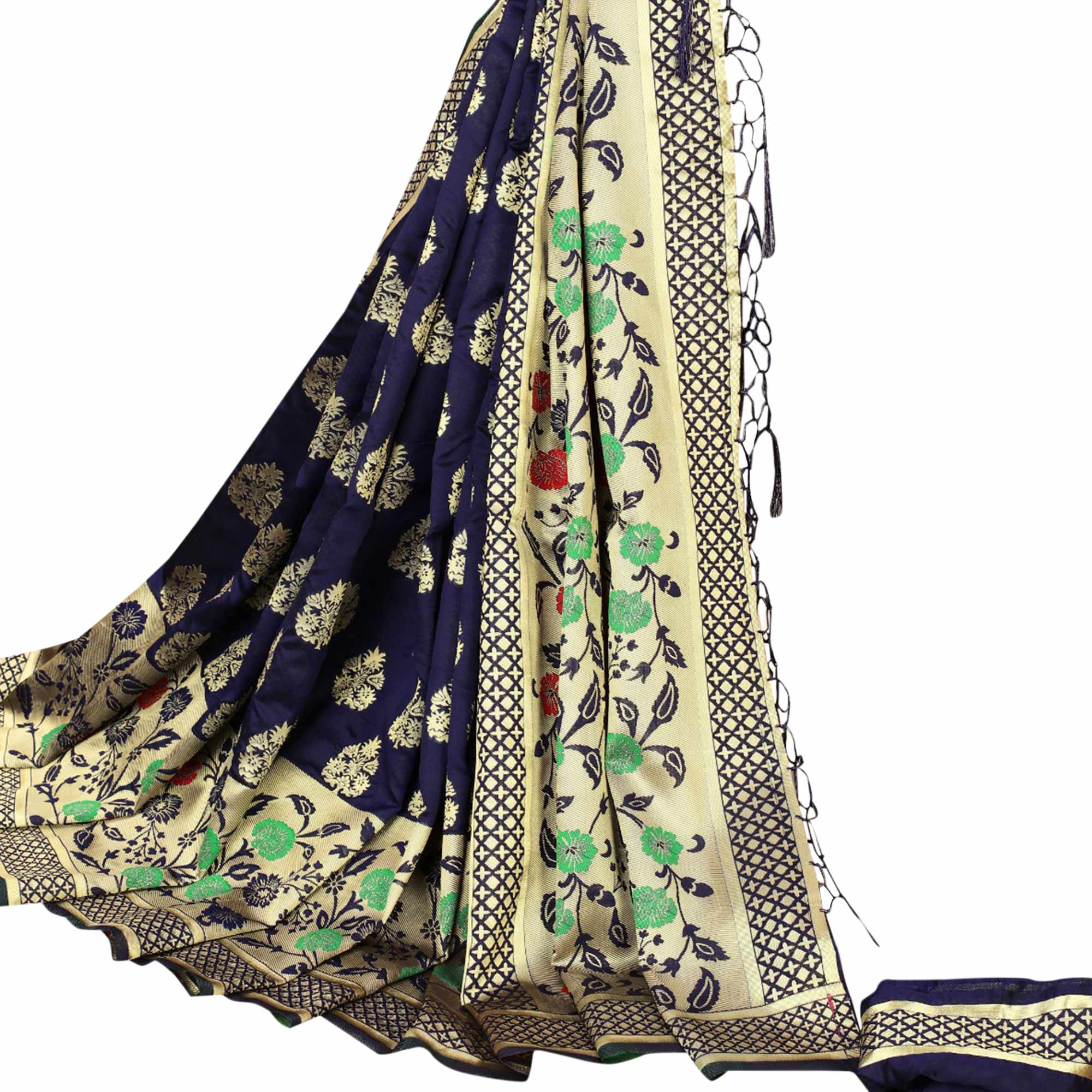 Entrancing Navy Blue Colored Festive Wear Kota Silk Saree