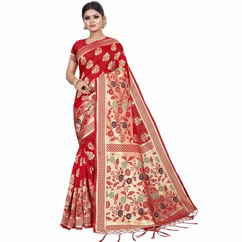 Groovy Red Colored Festive Wear Kota Silk Saree