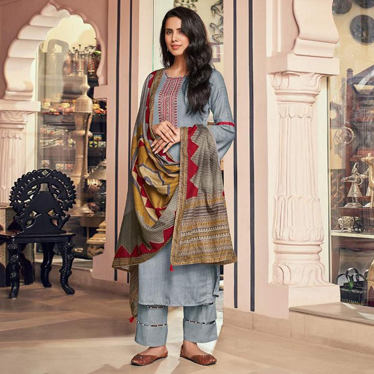 Exceptional Grey Casual Embroidered Pure Jam Silk Suit