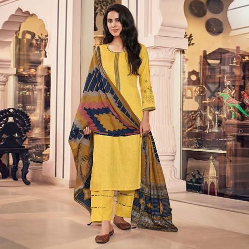 Gleaming Yellow Casual Embroidered Pure Jam Silk Suit