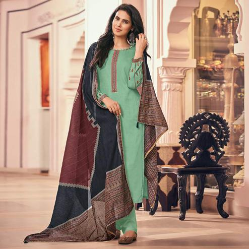 Mesmeric Green Casual Embroidered Pure Jam Silk Suit