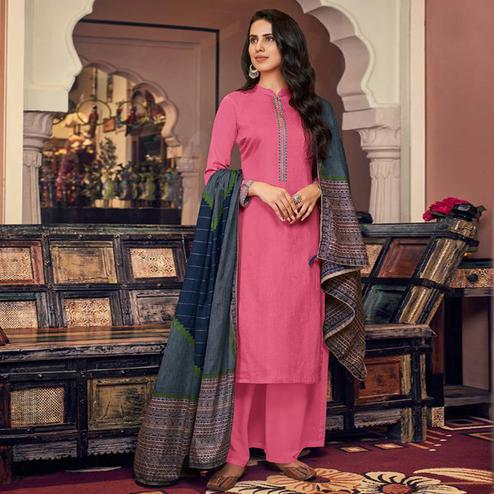 Demanding Pink Casual Embroidered Pure Jam Silk Suit