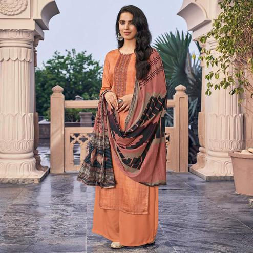 Refreshing Orange Casual Embroidered Pure Jam Silk Suit