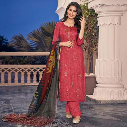 Hypnotic Red Casual Embroidered Pure Jam Silk Suit