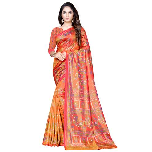 Adorable Orange-Red Colored Casual Printed Art Silk Saree