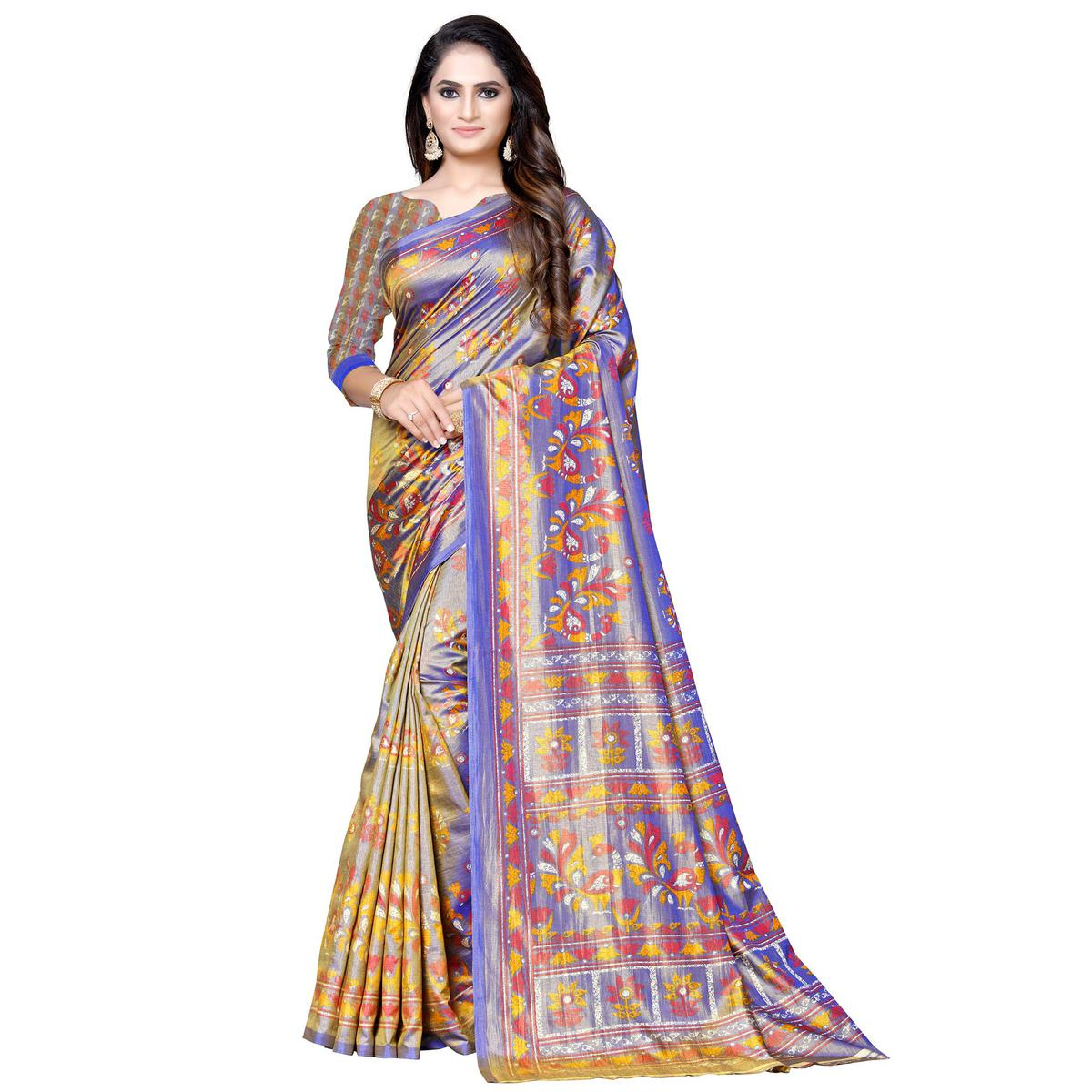 Glorious Purple-Olive Green Colored Casual Printed Art Silk Saree