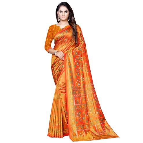 Attractive Orange Colored Casual Printed Art Silk Saree