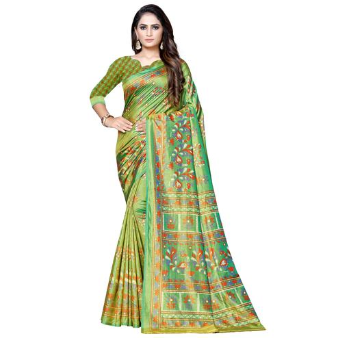 Beautiful Green Colored Casual Printed Art Silk Saree